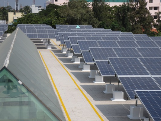 Roof Top solar power plant installed at Grundfos facility in Chennai