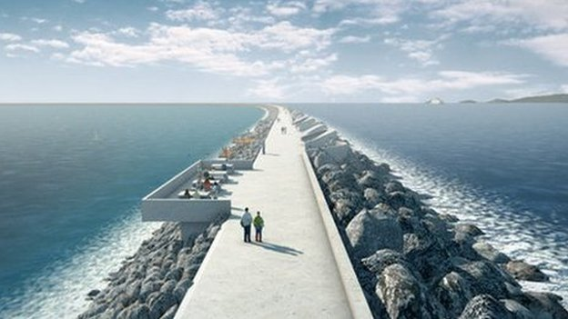 An artist's impression of how the lagoon around Swansea Bay could look if given the go-ahead