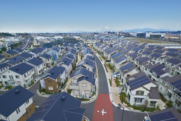 Fujisawa SST townscape with solar panels installed on rooftops