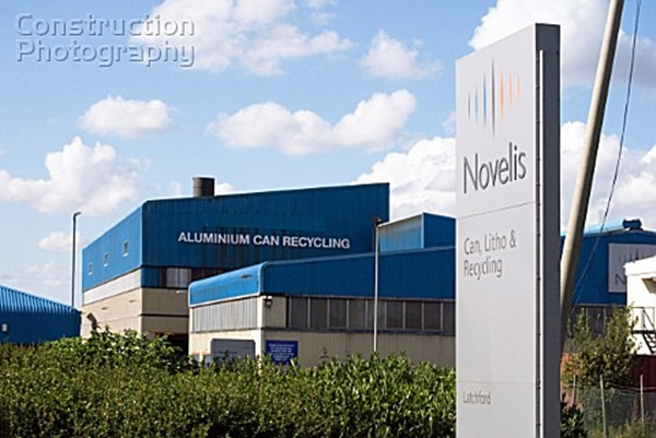 Novelis (formerly Alcan) Aluminium recycling plant, Latchford, Warrington, Cheshire, United Kingdom photo credit Construction photography