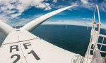 View from the top of the nacelle of the wind turbine of Rhyl Flats wind power plant