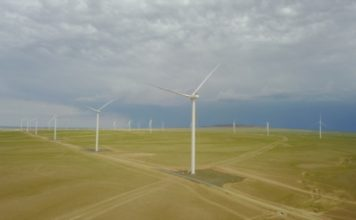 Tsetsii Wind Farm in the Gobi Desert Mongolia