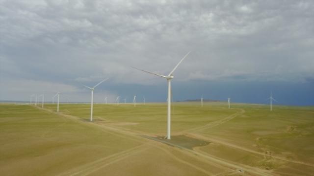 Tsetsii Wind Farm in the Gobi Desert Mongolia
